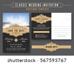 classic vintage wedding... | Shutterstock .eps vector #567593767