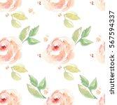 seamless  cute pink watercolor... | Shutterstock . vector #567594337