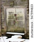Old Wooden Door. Grey And Gree...