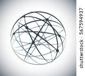 abstract lines network sphere... | Shutterstock .eps vector #567594937