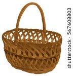 Empty Wicker Basket With Handl...