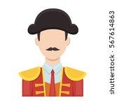 matador icon in cartoon style... | Shutterstock .eps vector #567614863