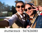mother and adult daughter are... | Shutterstock . vector #567626083