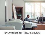 businessman hard at work on a... | Shutterstock . vector #567635203