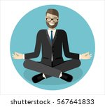 relaxing businessman with yoga... | Shutterstock .eps vector #567641833
