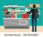 supermarket store counter desk... | Shutterstock .eps vector #567641887