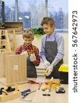 children in the workshop... | Shutterstock . vector #567642973