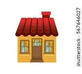 small house with chimney and... | Shutterstock .eps vector #567646027