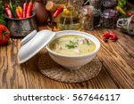 cheese soup with chicken and... | Shutterstock . vector #567646117