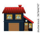 facade confortable house with... | Shutterstock .eps vector #567646747