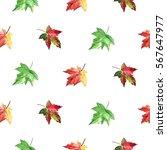 hand drawn watercolor autumn... | Shutterstock . vector #567647977