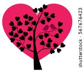 birds in valentine heart tree | Shutterstock .eps vector #567676423