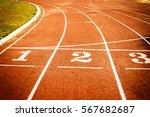 running track start line... | Shutterstock . vector #567682687