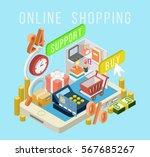 online shopping concept desktop ... | Shutterstock .eps vector #567685267