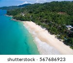 aerial view of white sand beach ... | Shutterstock . vector #567686923