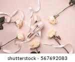 vintage still life with roses... | Shutterstock . vector #567692083