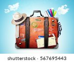 retro suitcase of a traveler... | Shutterstock . vector #567695443