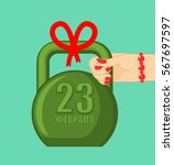 23 february kettlebell womans... | Shutterstock .eps vector #567697597
