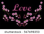 embroidery crewel of pink... | Shutterstock .eps vector #567698353