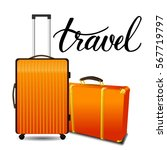 two colorful orange travel... | Shutterstock .eps vector #567719797