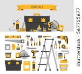 home repair objects and banner. ... | Shutterstock .eps vector #567725677