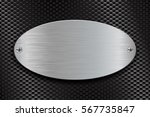metal brushed oval plate on... | Shutterstock .eps vector #567735847
