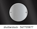 metal brushed round plate on... | Shutterstock .eps vector #567735877