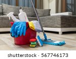 cleaning service. bucket with... | Shutterstock . vector #567746173