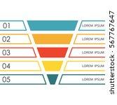 funnel infographics template. 5 ... | Shutterstock .eps vector #567767647