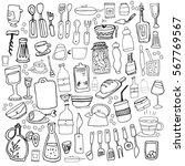 hand drawn food elements. set... | Shutterstock .eps vector #567769567