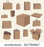 brown paper bags and boxes... | Shutterstock .eps vector #567784867