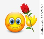 cute emoticon holding red rose  ... | Shutterstock .eps vector #567790777
