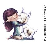 little girl hugging her dog | Shutterstock . vector #567794617