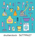 household cleaning supplies... | Shutterstock .eps vector #567799627