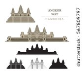angkor wat  cambodia  objects ... | Shutterstock .eps vector #567809797