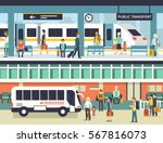 people on railway and bus... | Shutterstock .eps vector #567816073