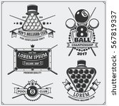 set of billiards labels ...