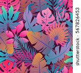 summer exotic floral tropical... | Shutterstock .eps vector #567826453