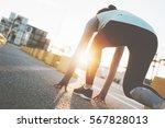 woman in start position ready...   Shutterstock . vector #567828013