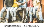 group of multiculture friends... | Shutterstock . vector #567830377