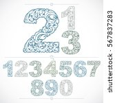 Set Of Vector Ornate Numbers ...