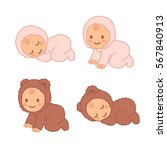 cute cartoon baby in fuzzy bear ... | Shutterstock .eps vector #567840913