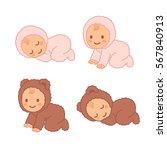 cute cartoon baby in fuzzy bear ... | Shutterstock .eps vector #567840913