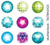 3d vector digital spherical... | Shutterstock .eps vector #567841423