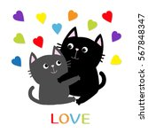 black gray cat hugging couple... | Shutterstock .eps vector #567848347