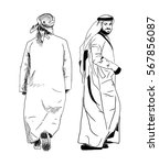 arabic man sketch of back and... | Shutterstock .eps vector #567856087