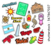 argentina travel elements with...   Shutterstock .eps vector #567867037