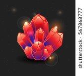 red gemstone  cartoon crystal.... | Shutterstock .eps vector #567868777