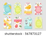 cute easter tags set. labels... | Shutterstock .eps vector #567873127