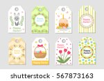 cute easter tags set. labels... | Shutterstock .eps vector #567873163